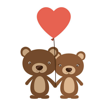 Bear cartoon in love icon. Animal cute adorable creature and friendly theme. Isolated design. Vector illustration