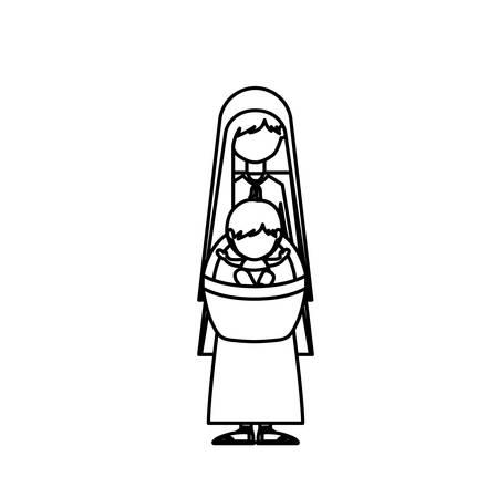 nativety: Mary and baby jesus icon. Nativity merry christmas season and decoration theme. Isolated design. Vector illustration Illustration