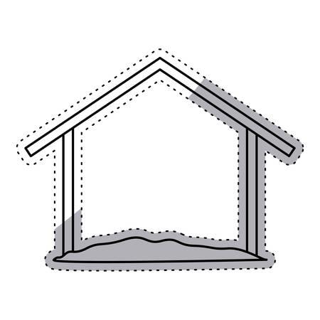 nativety: Holy house icon. Nativity merry christmas season and decoration theme. Isolated design. Vector illustration