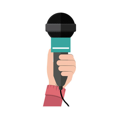 Microphone device icon. Broadcasting journalism news technology media and studio theme. Isolated design. Vector illustration Illustration