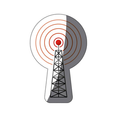 signal device: Antenna signal device icon. Broadcast internet technology and wireless theme. Isolated design. Vector illustration