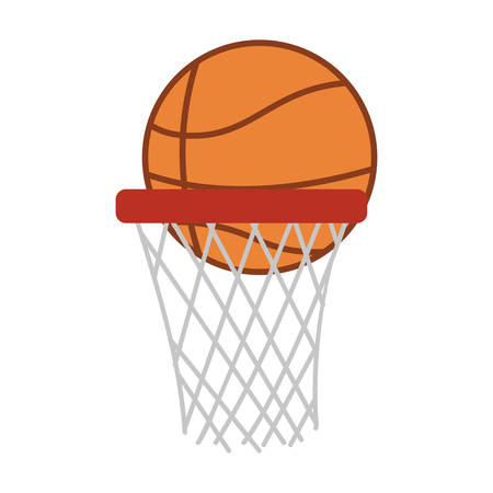 backboard: silhouette colorful with basketball hoop and ball vector illustration Illustration