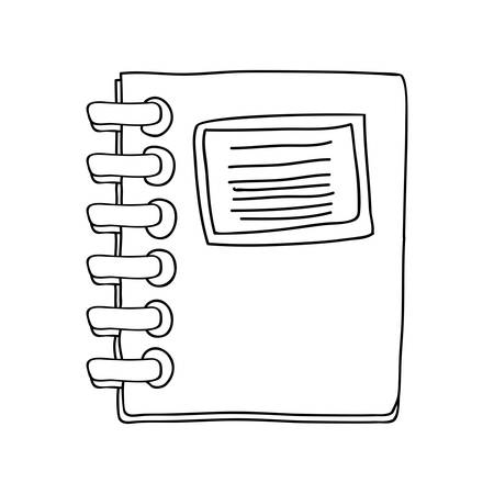 spiral notebook: monochrome contour notebook spiral with sheets vector illustration Illustration