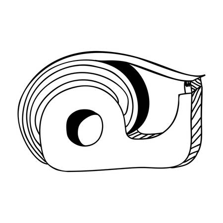 adhere: monochrome contour of tape adhesive with blade cut vector illustration Illustration