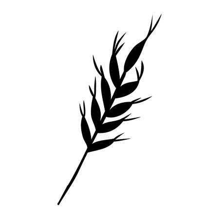 whole grain: silhouette monochrome with wheat branch vector illustration