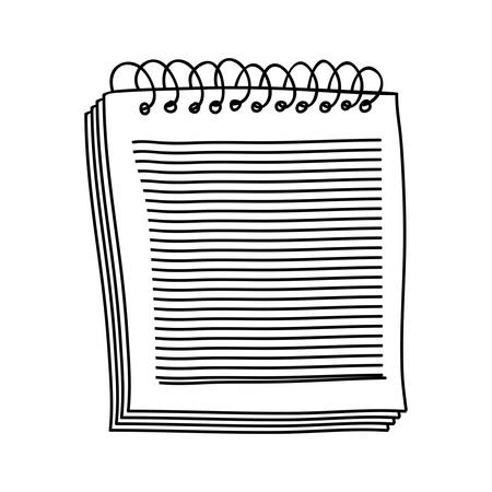 spiral notebook: hand drawing of notebook of spiral with sheets vector illustration