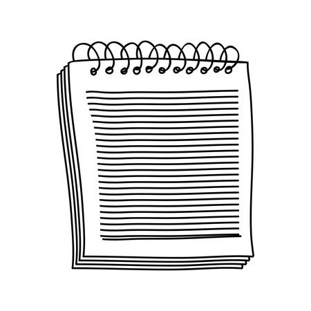 spiral notebook: contour of notebook of spiral with sheets vector illustration Illustration