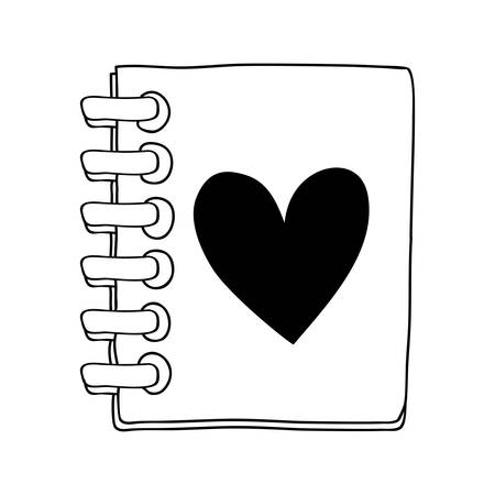 spiral notebook: contour of the notebook of spiral with heart vector illustration