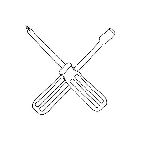 contour with screwdrivers flat and phillips vector illustration Illustration