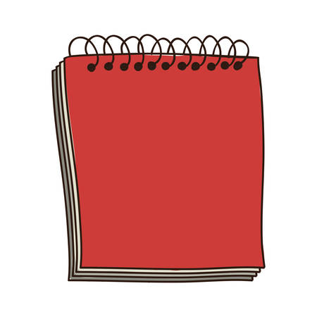spiral notebook: colorful notebook of spiral in red vector illustration