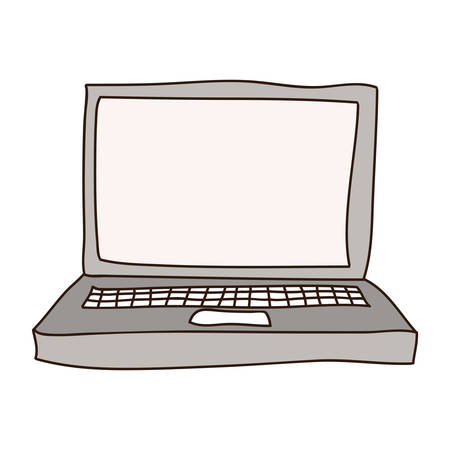 laptop silhouette: silhouette with laptop computer in gray scale vector illustration