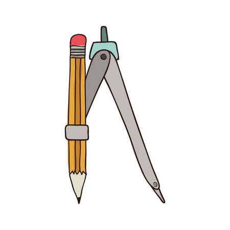 silhouette colorful of compass with pencil vector illustration Illustration