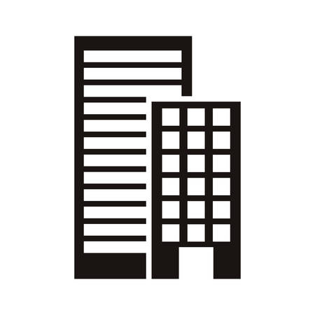 silhouette monochrome with offices buildings vector illustration