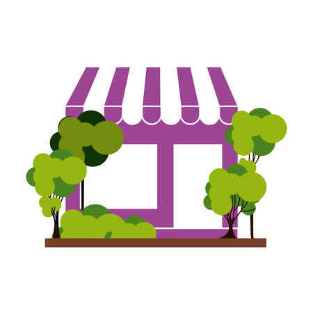 silhouette with purple supermarket and trees on the sidewalk vector illustration Illustration
