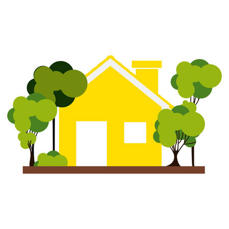 residential tree service: silhouette with yellow house and trees on the sidewalk vector illustration