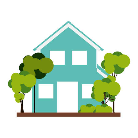 residential tree service: silhouette with aquamarine house of two floors with trees vector illustration