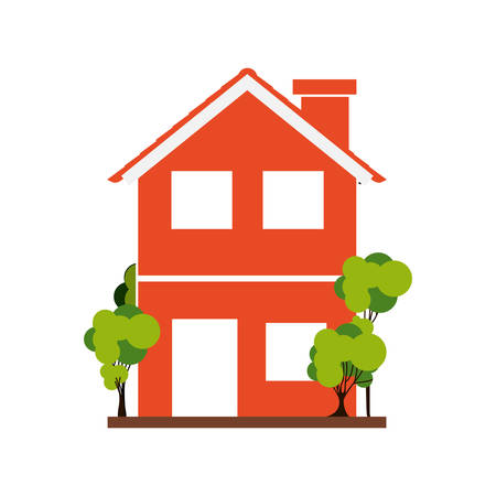 residential tree service: silhouette with orange house of two floors with trees vector illustration