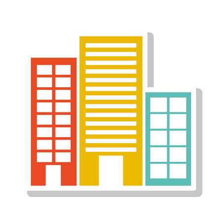 silhouette colorful with buildings without trees vector illustration