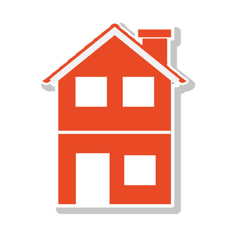 residential tree service: silhouette with orange house of two floors vector illustration Illustration