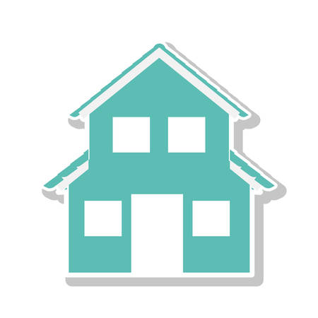 residential tree service: silhouette with aquamarine house of two floors vector illustration