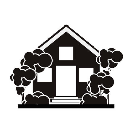 silhouette with monochrome house and trees on the sidewalk vector illustration