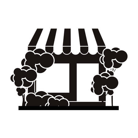 silhouette with monochrome supermarket and trees on the sidewalk vector illustration