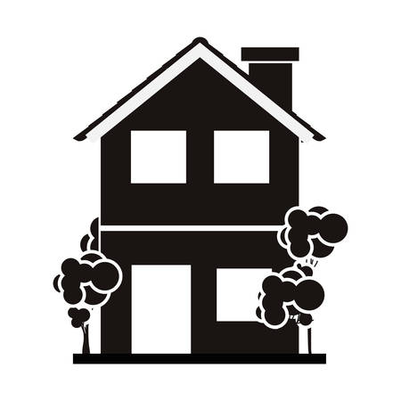 residential tree service: silhouette with monochrome house of two floors with trees vector illustration
