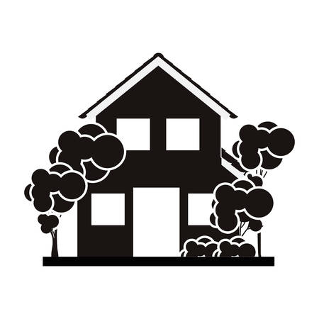 silhouette with monochrome house of two floors with trees vector illustration