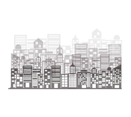 단색 건물 및 도시 그림 장면 벡터 일러스트 레이 션