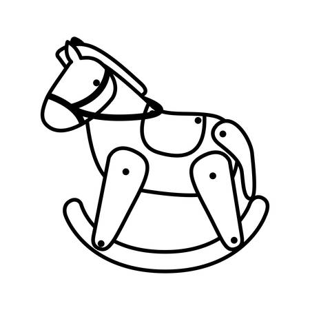 wooden horse: silhouette horse toy flat icon vector illustration Illustration