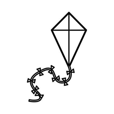 silhouette kite in triangular shape vector illustration