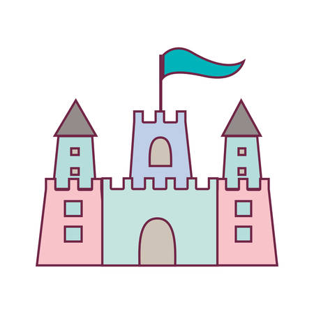 sandcastle: pastel color sandcastle icon with flag vector illustration