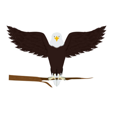 threatened: eagle on a tree branch vector illustration