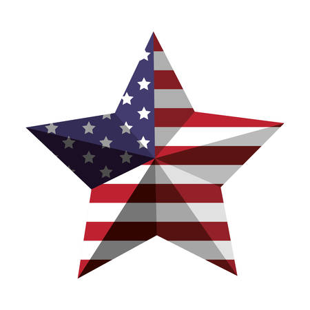 flagged: 3d American flag star icon vector illustration Illustration