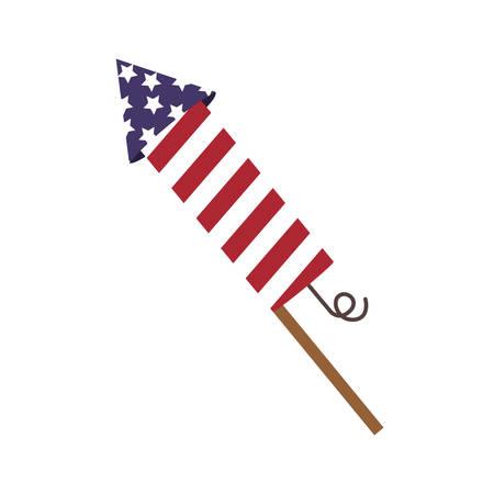 rocket fireworks lights independence day vector illustration
