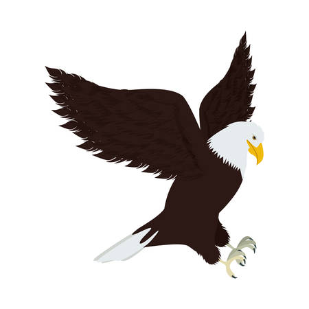 threatened: silhouette eagle in hunting position vector illustration