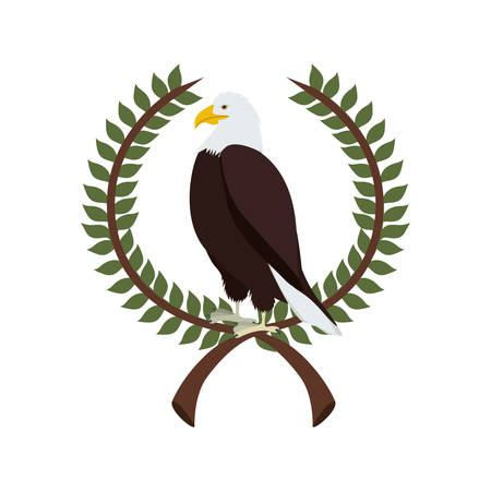 threatened: eagle in crown formed with olive branch vector illustration