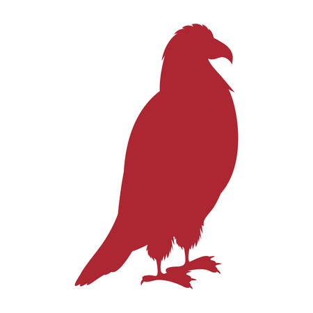 threatened: red silhouette eagle standing icon vector illustration