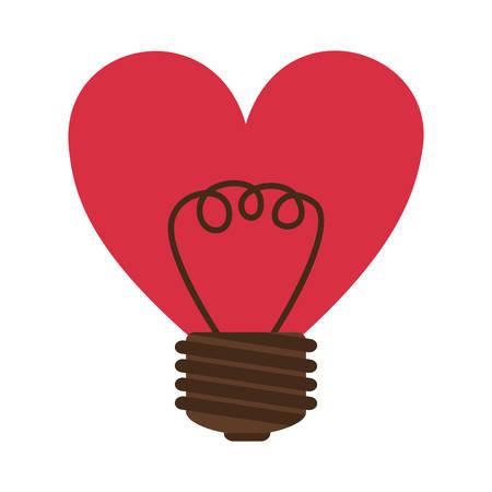 silhouette contour: silhouette contour bulb in heart shape vector illustration