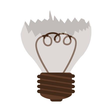 silhouette contour: silhouette contour broken bulb with resistence vector illustration