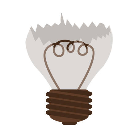 silhouette contour broken bulb with resistence vector illustration