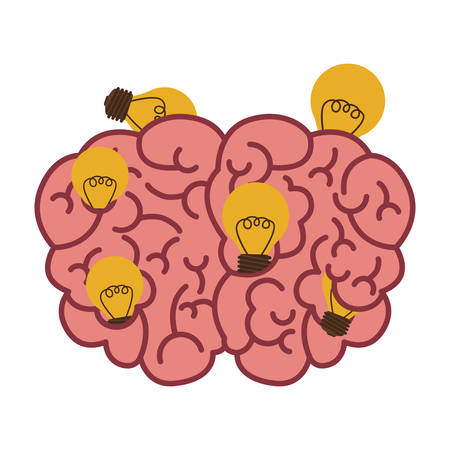 silhouette brain human top view with light bulb vector illustration