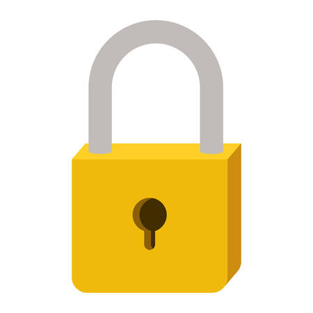 close out: padlock with yellow body and shackle vector illustration Illustration