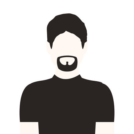 fellows: monochrome half body man with beard without face vector illustration