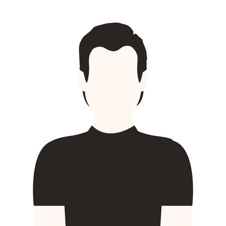 fellows: monochrome half body man without face vector illustration