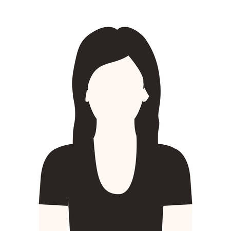 fellows: monochrome half body woman with long hair without face vector illustration Illustration