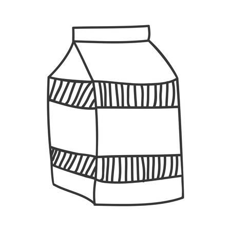 caja de leche: silueta en blanco y negro con la ilustración vectorial cartón de leche Vectores