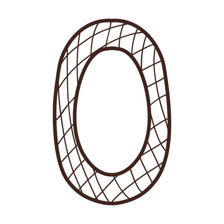 number zero: silhouette number zero with line crossed vector illustration