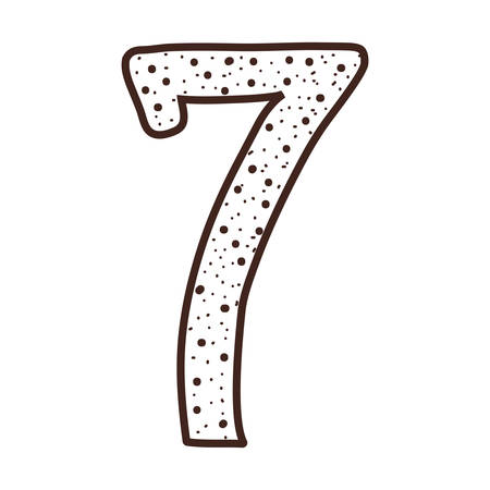 number seven: silhouette number seven design over dotted vector illustration