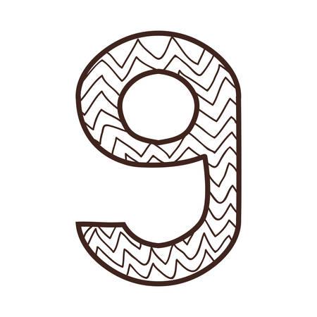 numero nueve: número nueve de la silueta sobre el diseño de rayas y líneas de ilustración vectorial